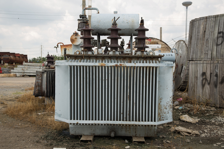 damaged: Old and damaged transformers. Stock Photo