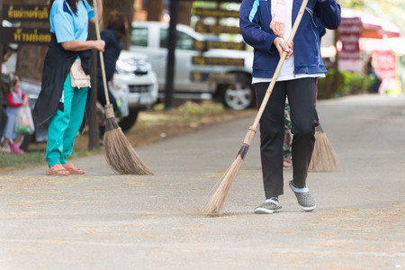 custodian: Street Sweeper Sweeping Pavement in Bangkok Stock Photo