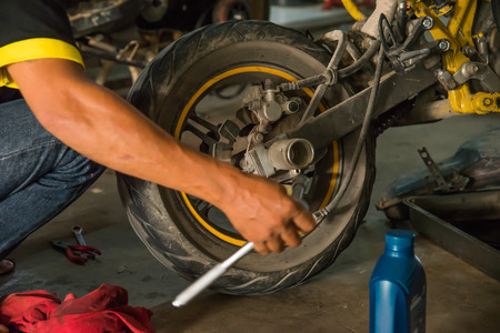 The mechanic tire of the motorcycle.