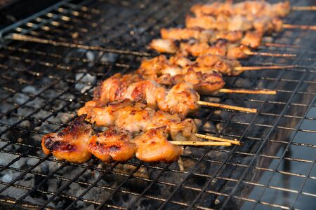 roasting: Skewer chicken pieces roasting on the grill and smoke.
