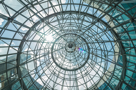 interior of metal roof structure of modern building