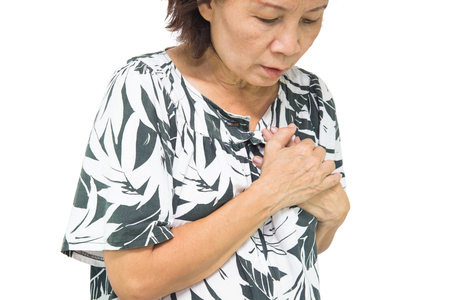 woman old suffering from heart attack.