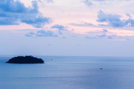 colorful cloudscape: beautiful seascape and twilight sky, colorful cloudscape background, landscape. Stock Photo