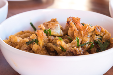 Stir Fried Squid with Salted Eggs Stock Photo