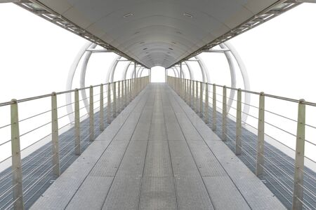 Metal walkway with sunroof isolated on white Standard-Bild