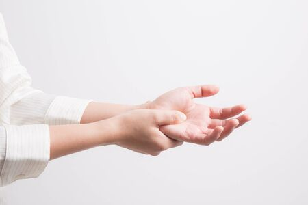 Asian woman wrist pain,office syndrome concept Stock fotó