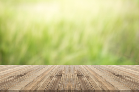 table top on green blurred  background,Space for placing products Foto de archivo