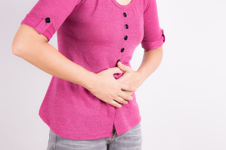 acute: Asian women with abdominal pain on white background