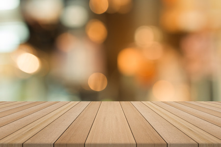 Empty wood table top on blurred background,for montage your products Stock Photo
