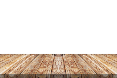 Empty wood table top on white background for montage your product
