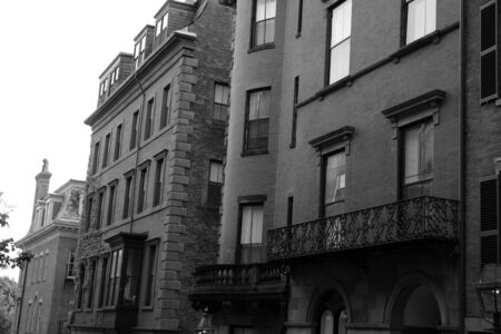 Black and white image of Boston Brownstones photo