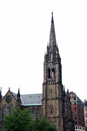 steeples: very ornate church with many steeples looking like a medieval structure Stock Photo