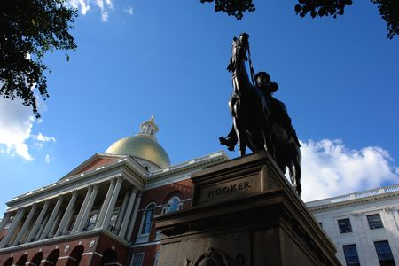 Facing the statue from below, the state house can be seen in the left hand side of the image. Nickname:Fighting Joe Place�of�birth: Hadley, Massachusetts Place�of�death: Garden City, New York Allegiance: United States Years�of�service: 1837 - 1853, 1859 -
