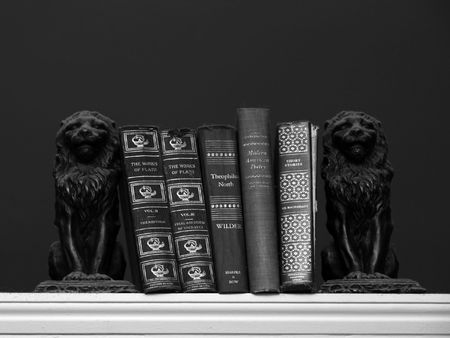 scholarly: A collection of scholarly books are held upon a shelf with two dust covered lion book ends. Black and white image Stock Photo