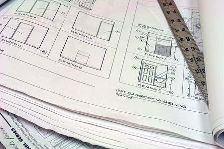 close up of blue prints with metal ruler Stock Photo - 678445