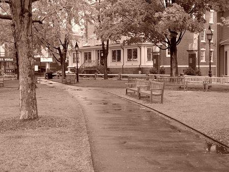 cambridge: a rainy day at the park in harvard square, cambridge, massachusetts, new england