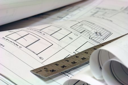 close up of blue prints with metal ruler Stock Photo - 708780