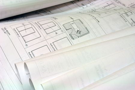 close up of blue prints unrolled on desk Stock Photo - 708779