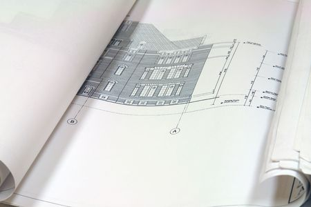 close up of blue prints showing exterior Stock Photo - 708778