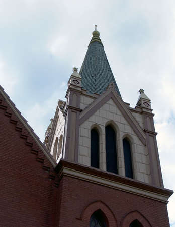 pilaster: View of brick and painted cement church steeple located in new england, easthampton massachusetts Stock Photo