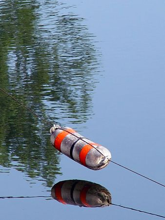 orange and white buoy suspended over water with trees reflecting in the pond Banco de Imagens