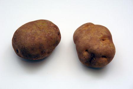 2つの錆びたジャガイモ、白の上に、孤立していない 写真素材