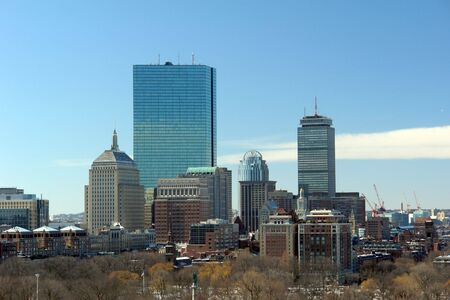 Boston sky line on a cool winters morning Stock Photo