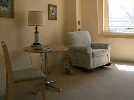 sitting area: sitting area in assisted living apartment, muted tones, living room, muted tones