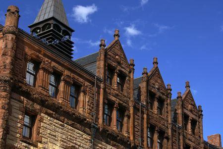 elaborate: detail of elaborate apartment building on newbury street in boston