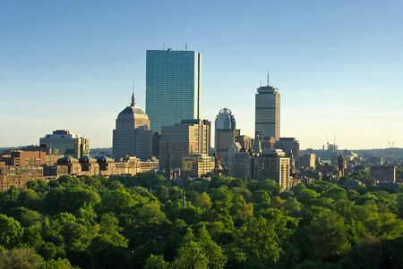 sunset in boston massachusetts on a lush spring evening, showing boston common and the back bay of copley square Stock Photo
