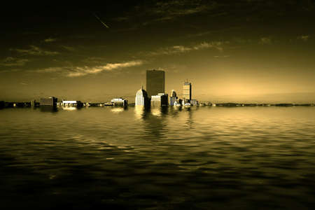 Dramatic fine art sepia toned image of the boston skyline half submerged underwater as a rusult of global warming