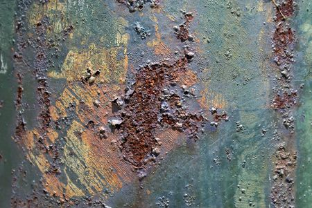 utility pole: close up of rusted utility pole, pock marked and blistered Stock Photo
