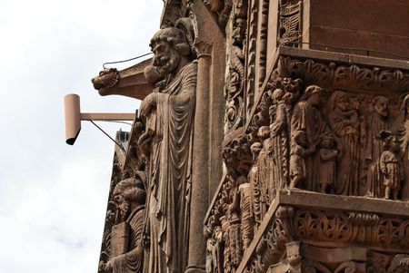 intricate carved detail on the exterior of bostons trinity church in copley square