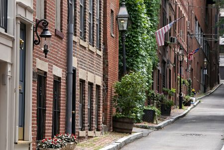 american city: Classic view of bostons famous beacon hill district, showing the early american city homes