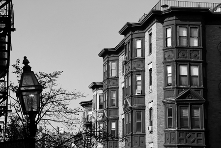 brownstone: Beautiful black and white classic scene of old boston, showing gas lamp and brownstone high rise apartments