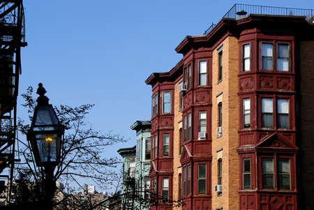 brownstone: Beautiful classic scene of old boston, showing gas lamp and brownstone high rise apartments