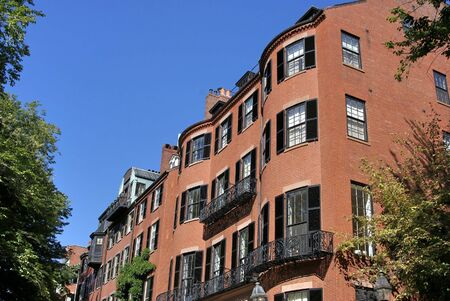 child's: childs eye view of old brownstones in bostons beacon hill area