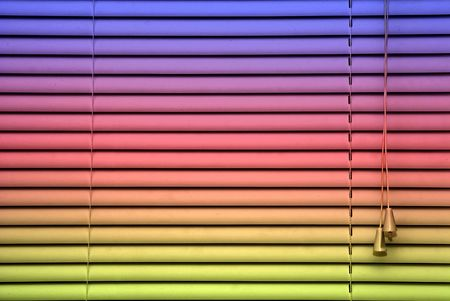 closed rainbow colored blinds showing adjusting cords and slats, designed for a background