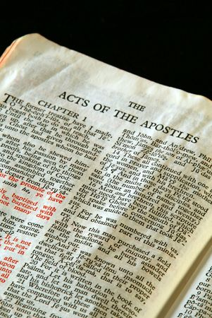holy bible: Bible Series. close up detail of antique holy bible open to the gospel according to the acts of the apostles in the new testament