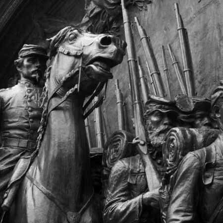 detail of bas-relief statue commemorating the civil war in boston massachusetts 免版税图像