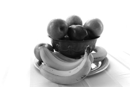 black and white image of a fresh bowl of fruit