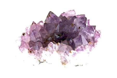 cluster of amethyst lit from underneath, emerging from white background