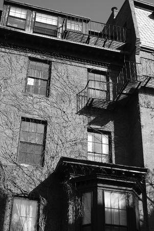 brownstone: old interesting brownstone apartment buillding in boston massachusetts Stock Photo