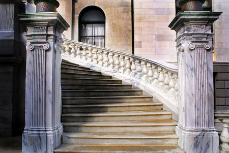 winding marble staircase at the side entrance of the massachusetts state house, boston