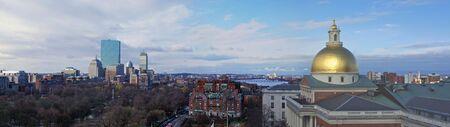 beautiful awe inspiring Bird's Eye Panoramic view of Boston on a early Spring Morning