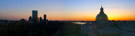 beautiful awe inspiring Birds Eye Panoramic view of Boston on a early Spring evening as the sun sets photo