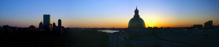 expanded beautiful awe inspiring Birds Eye Panoramic view of Boston on a early Spring evening as the sun sets photo