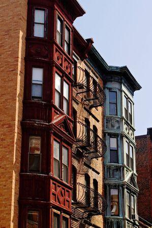 brownstone: old brownstone buildings in boston of various colors