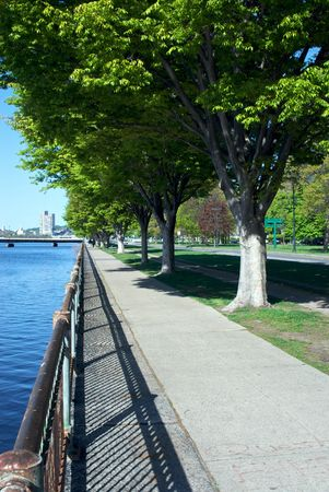 pedestrian walkway: pedestrian walkway along the banks of the charles river Stock Photo