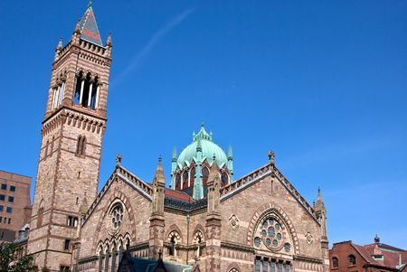 oxidized: wide angle view of old south church on boylston street in boston massachusetts Stock Photo